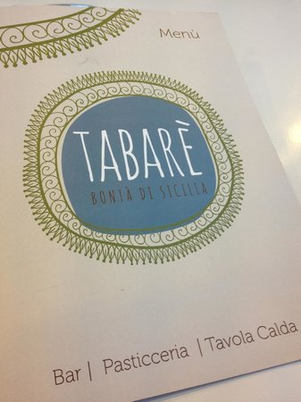 Tabare Bonta di Sicilia: Copertina menu