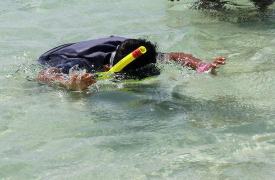 Voyager Beach Resort: Snorkeling from the Glass bottomed boat