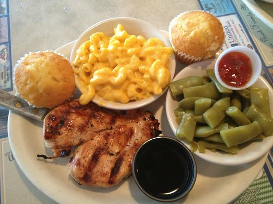 Knights On Main: Chicken teriyaki + mac & cheese + green beans + sweet cornbread muffins