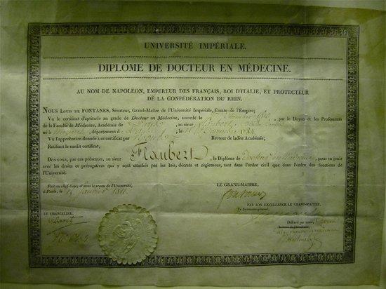Musee Flaubert et d'Histoire de la Medecine: Flaubert's father's medical diploma