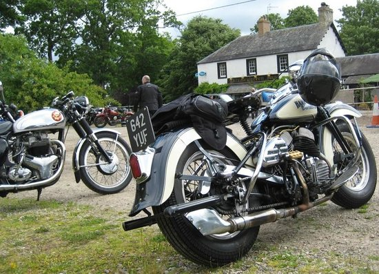 Pitcairngreen Inn: View from the car park when there's a classic bike event on (not likely)