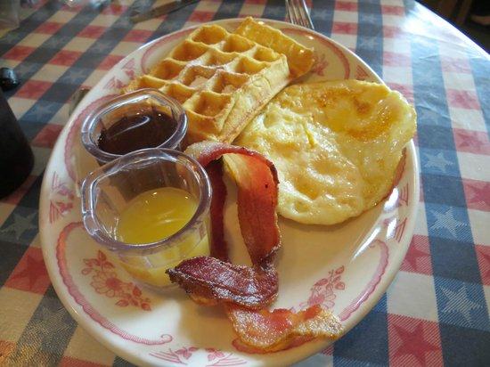 Belgian Waffle Works: Eggs and Waffles