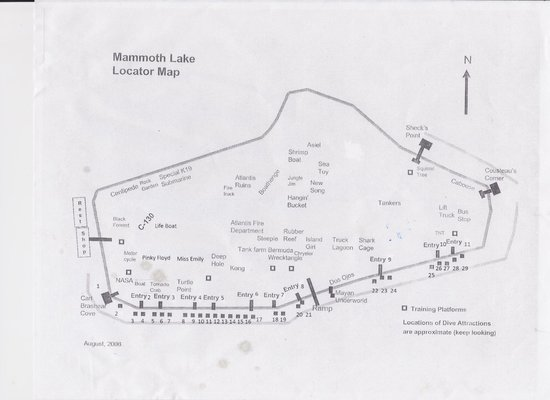 Mammoth Lake Dive Park: Map of the Lake