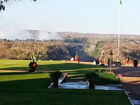 The Victoria Falls Hotel: View toward the Falls from the terrace restaurant