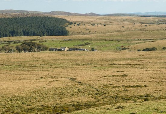 Powdermills Pottery: The view from Longaford Tor. The pottery and tea rooms are on the right-hand side of the buildin