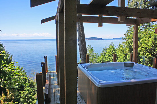 Beachside by the Bay: Ocean view deck perched in the trees!