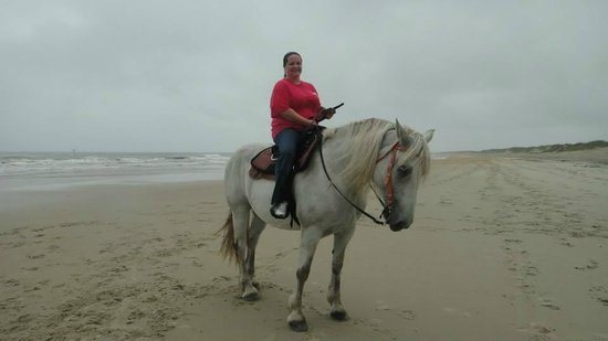 Equine Adventures: This is Ms. Snowflake and myself on the beach