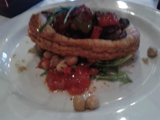 The Bread Street Brasserie: Ratatouille puff pastry tart with wilted spinach and chickpea salad
