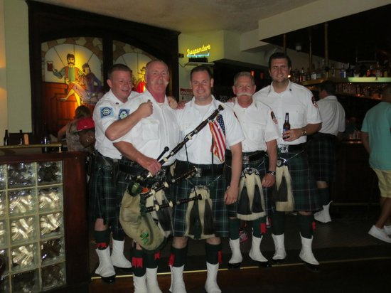 Suspenders : pipe band played after we left