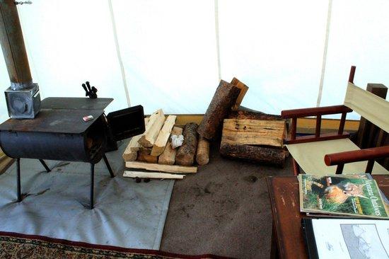 Yellowstone Under Canvas: Wood burning stove