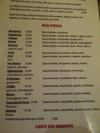 LR Restaurant : Extrait de la carte