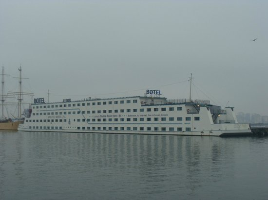 Submarine next to boat Picture of Amstel Botel