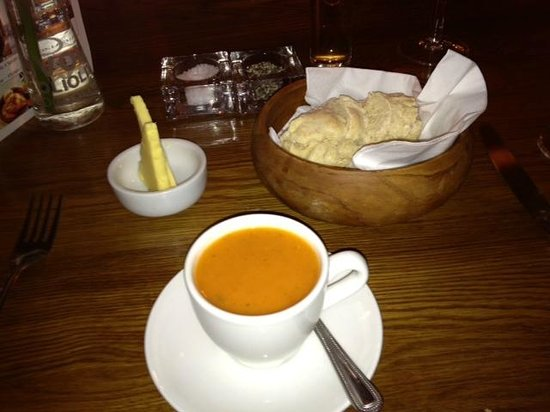... Cherry tomato & basil soup - Served gazpacho along with fresh soda