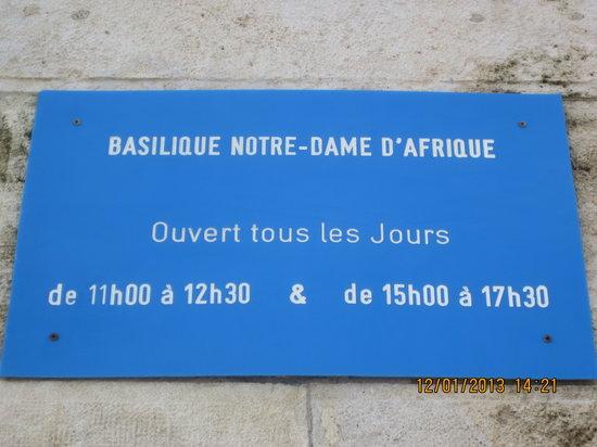 Basilique Notre-Dame d'Afrique : часы работы