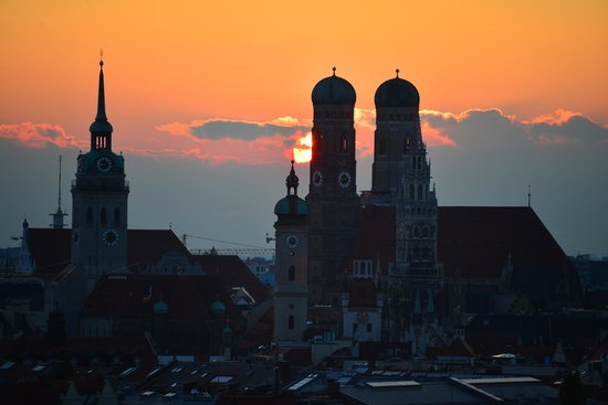 Sunset View from Room at Holiday Inn Munich - City Centre