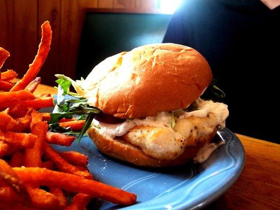 Maggie's Restaurant: Maggie's SUPER Superior Whitefish Sandwich w/ Sweet Potato Fries