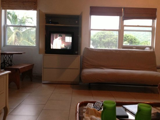 Cruz Bay Boutique Hotel: This is a view of the living room from the couch