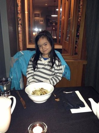 Maxtons Restaurant: the fussy eater loves her specially made pasta! well done Richard and Corrina!
