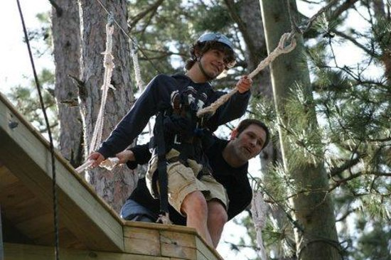 Character Challenge Course: Just before jumping off the 30' 3G Swing!