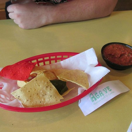 Agave Cantina: Partially eaten chips and salsa
