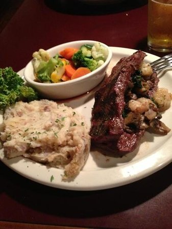 Downtown Grill & Brewery: steak stuffed with shrimp,bacon & spinich