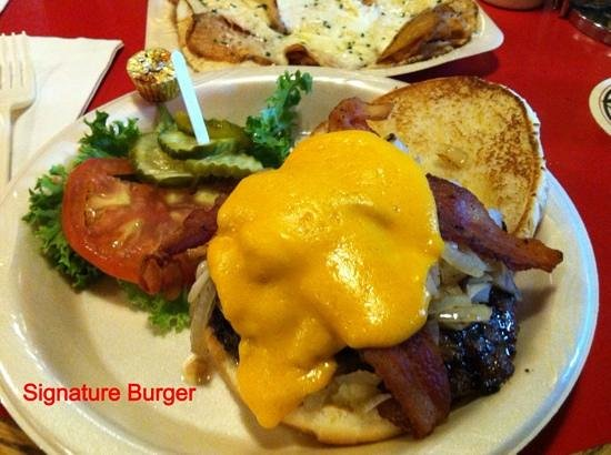 The Station Grill: Signature Burger earns and wears title well -- it is great.