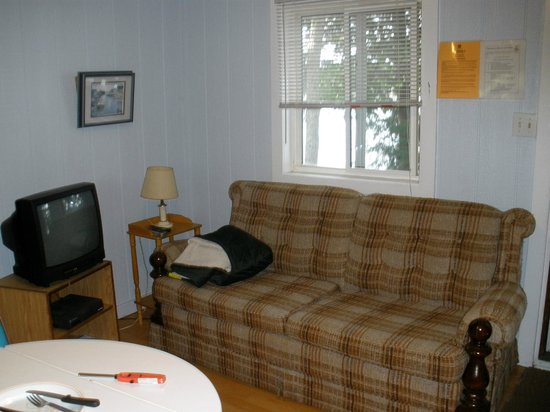 Black Lake Cabins: Living room area (other side is kitchen)