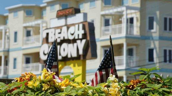 Beach Colony Resort Motel: Plastic flowers, American Flag...this is Wildwood!