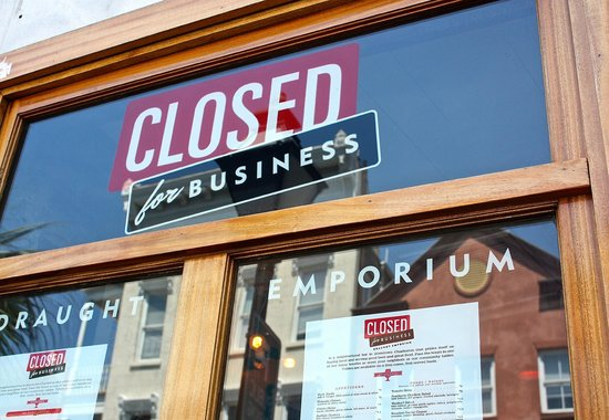 Closed For Business: window sign