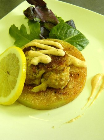 The Perfect Pear: Fried Green Tomato with Crab cake