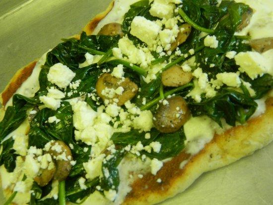 The Perfect Pear: Spinach, feta and mushroom flatbread
