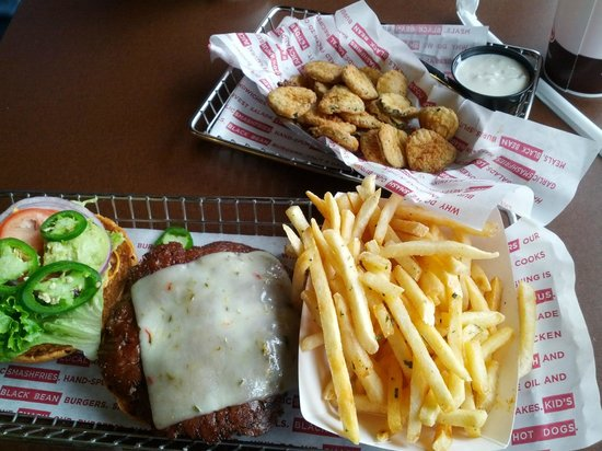 Smashburger: Baja burger with smash fries and fried pickles