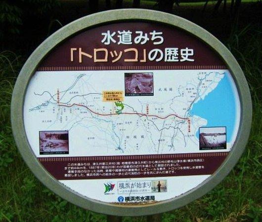 Yokohama Suidomichi Ryokudo: 横浜水道みち・・・トロッコの歴史サイン