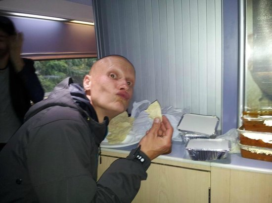 The Spice Room: Westy enjoying his curry on the train!