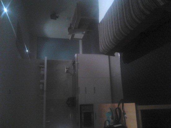 Bentleys Motor Inn : kitchenette and glass behind spa rom