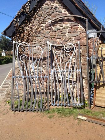 West Country Blacksmiths at Allerford Forge: A picture of work outside Allerford Forge when we were walking