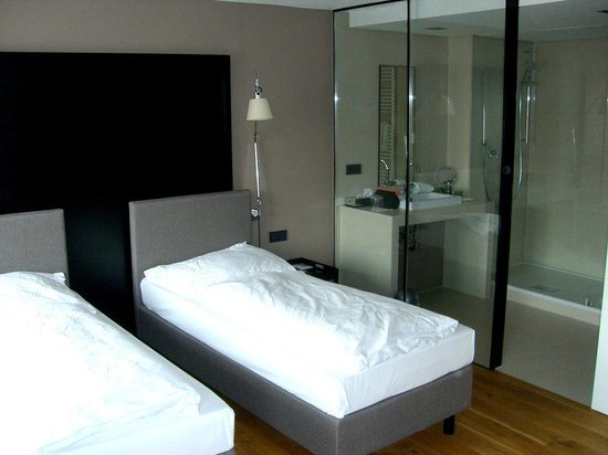 BEST WESTERN Hotel Goldenes Rad: The glass walls to the water basin and shower are transparent