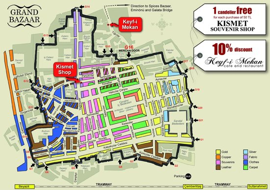 With this Grand Bazaar map... get 10% discount - Picture of Keyf-i ...