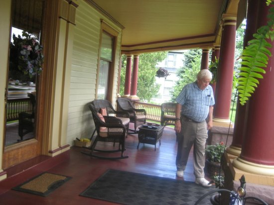 1897 Beekman House : front porch with guest (my husband)