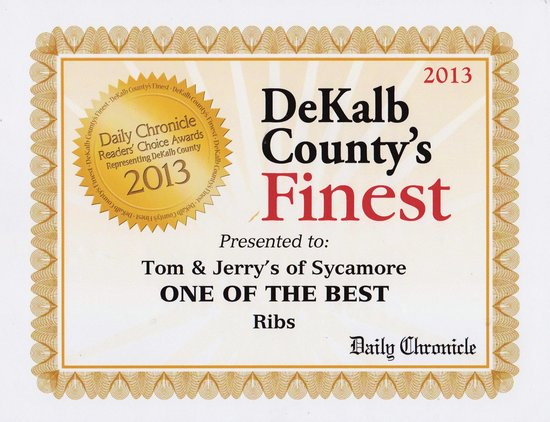 Tom and Jerry's : Voted one of the best RIBS 2013