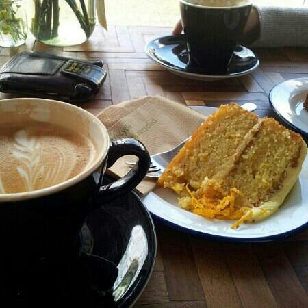 Barlow and Fields: latte and orange raspberry cake home made Mhmmmm love it and wolf it
