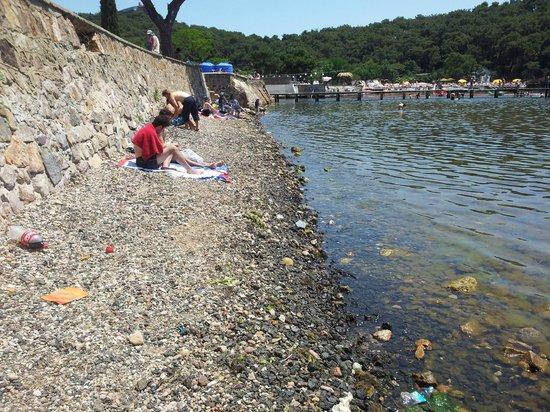 Ada Beach Club: Im Hintergrund der Bezahl-Strand