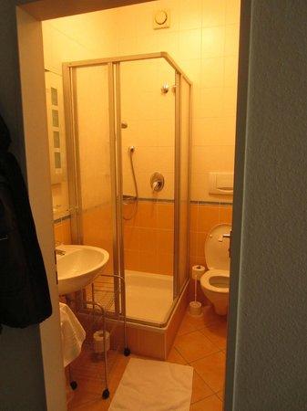 Hotel Wiedemann: kleines Bad mit Dusche und WC