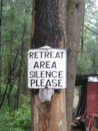 Sign attached to tree - Silence Please, at Tushita forest, Dharamkot, Himachal Pradesh