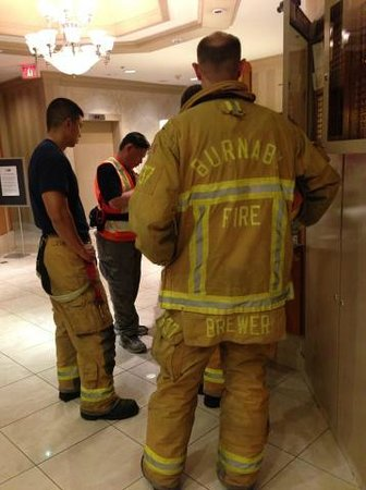 Holiday Inn Express Hotel Vancouver Metrotown: Hotel Lobby frustrated fire fighters from multiple calls
