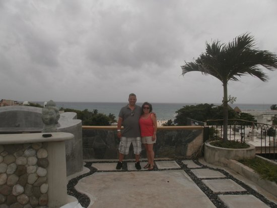 Hotel Cielo: me and wife on hotel roof garden