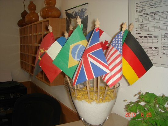 Residencial Estrela de Arganil: EU flags at reception