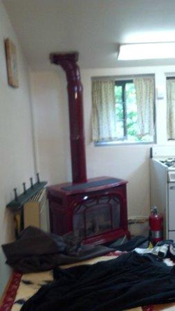 Alyeska Hostel: small and quaint fireplace/heater