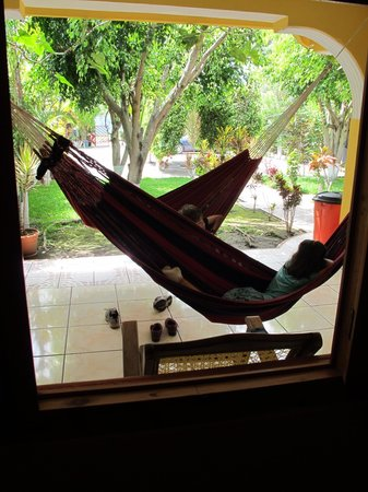 The patio hammocks at Casa Lola were our kids' favorite spot.