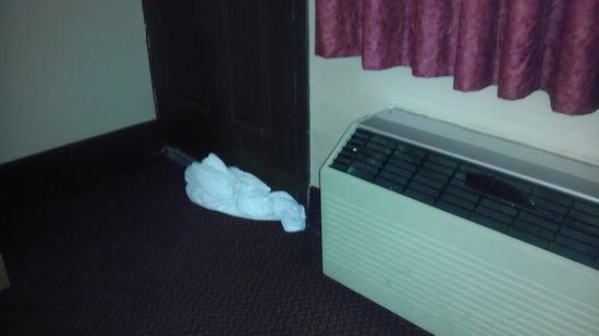 Fort Scott Inn: Towel under the door to keep the bugs out.